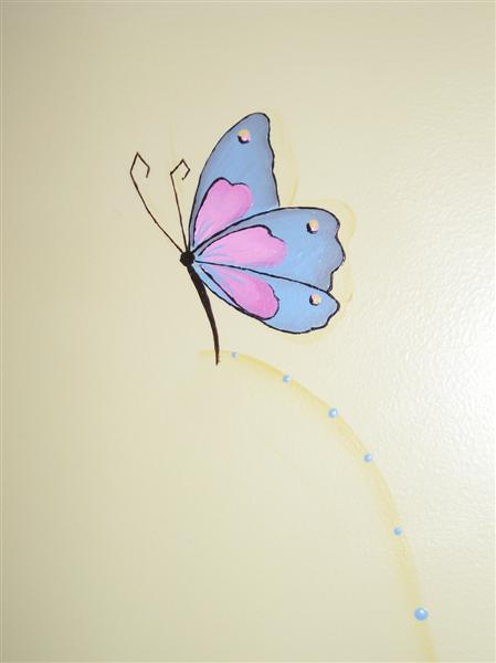 handpainted butterflies girls bedroom