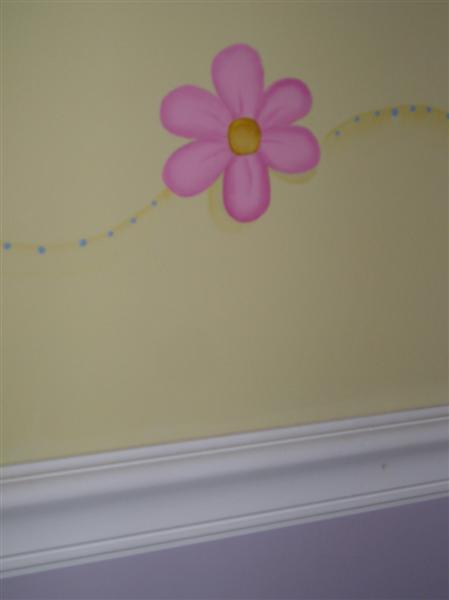 handpainted flower girls room