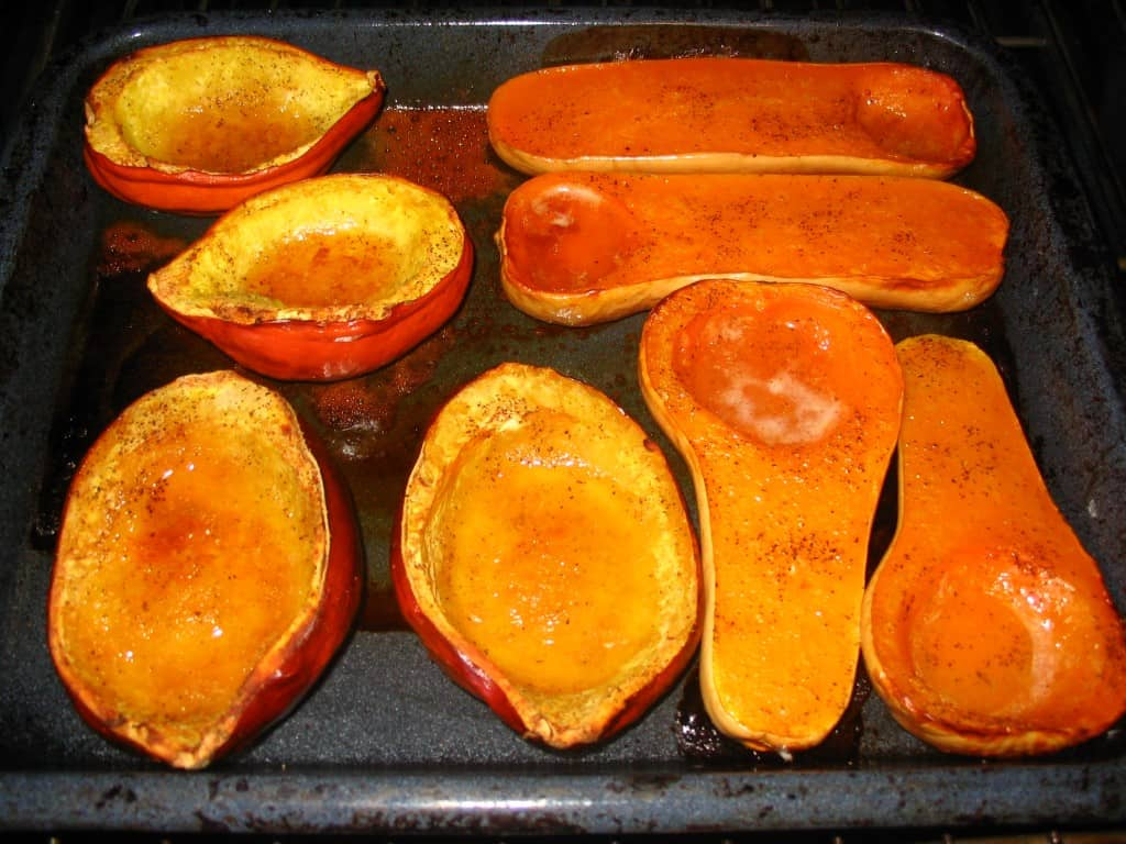 roasted butternut and acorn squash