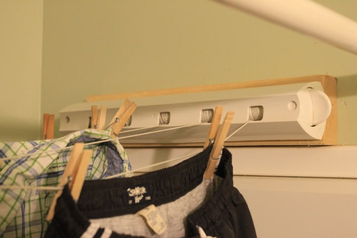 close up indoor clothesline