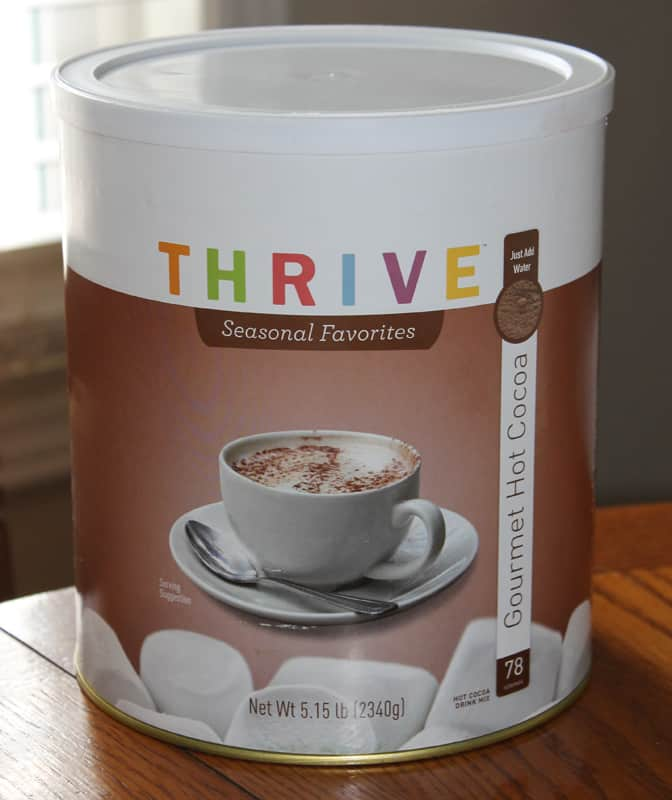 Chocolate for long term emergency food storage! Thrive Gourmet Hot Cocoa: http://newlifeonahomestead.thrivelife.com/hot-cocoa-mix.html