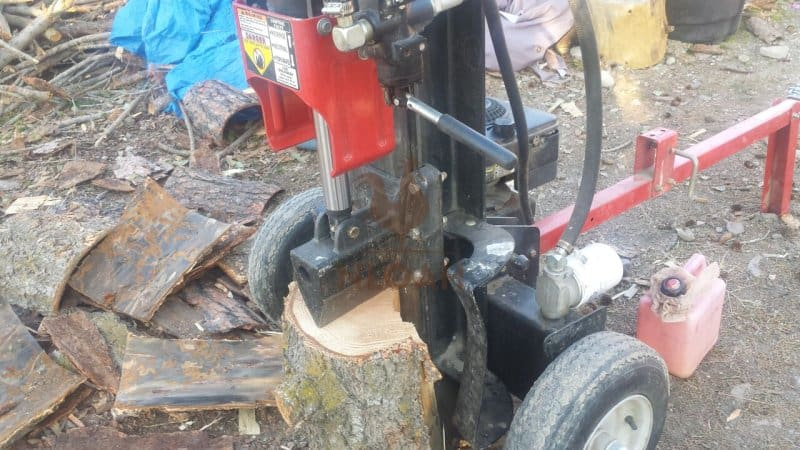 wood splitter in action