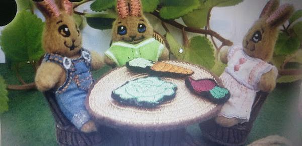 bunnies at table embroideries