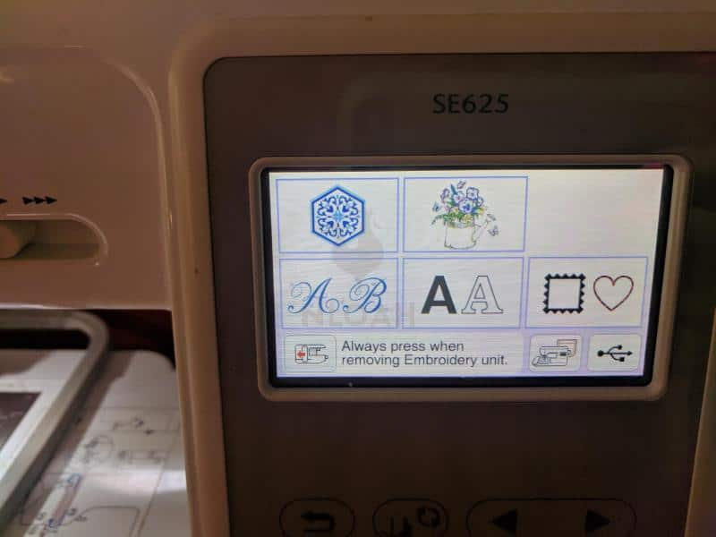 embroidery machine start screen