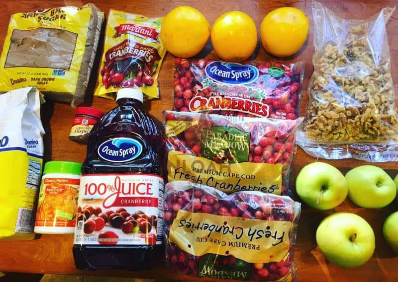Ingredients required for cranberry walnut conserve