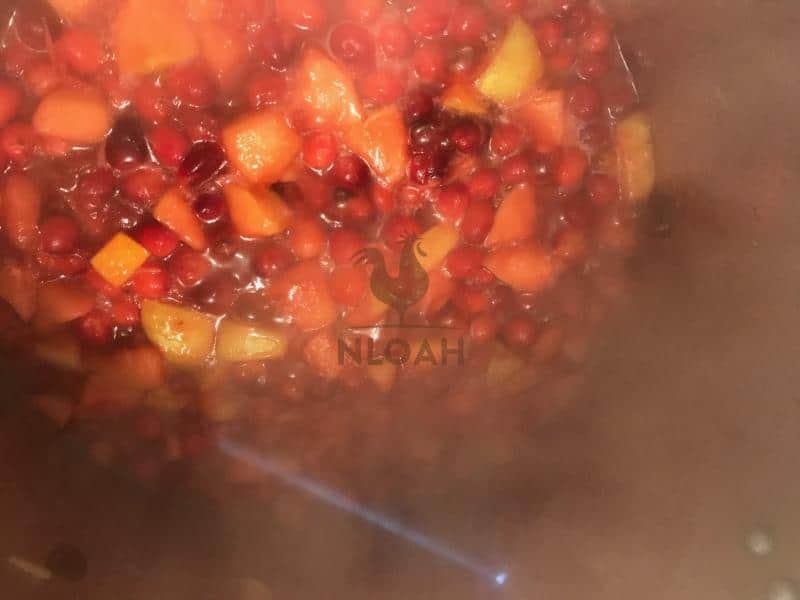 cranberry fruit mixture after it simmered for several mins