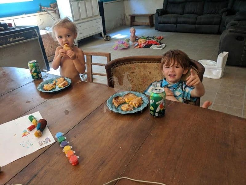colt and auddie eating a snack