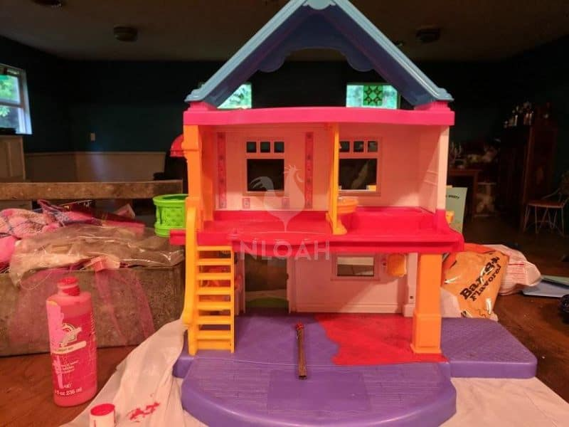 repurposing dollhouse into fire station