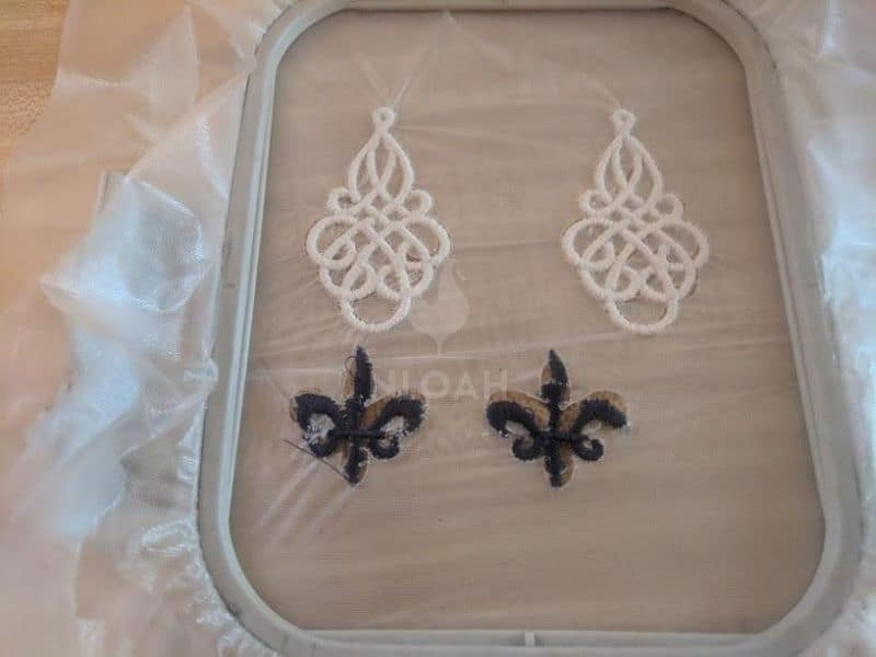 Free standing lace FSL jewellry rearring set