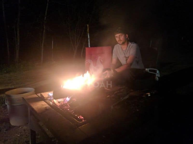 making jerky on an open flame
