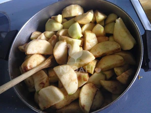 apples cut into pieces