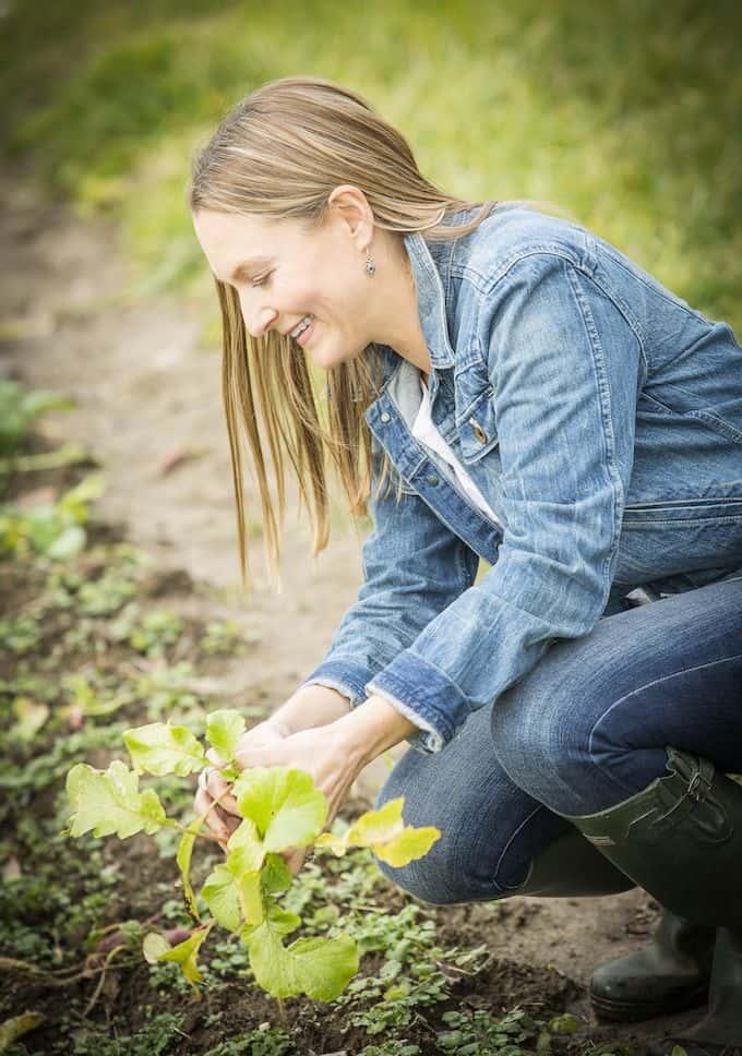 Amy Stross in the garden