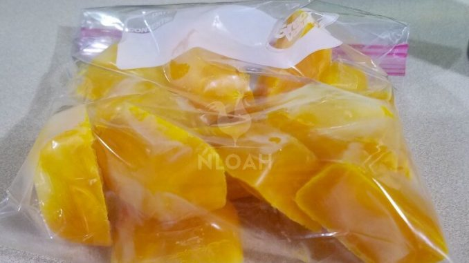 Egg cubes removed from tray and stored in freezer bag