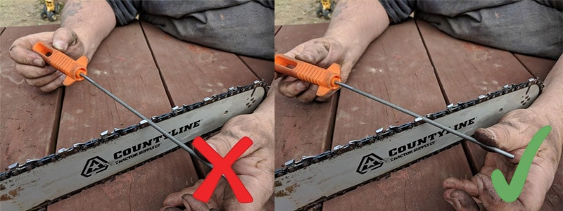right and wrong way to sharpen a chainsaw