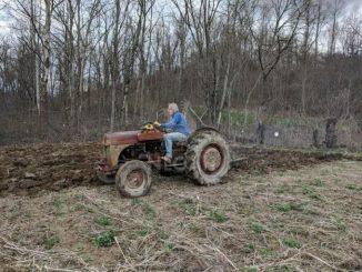 tractor plowing the garden