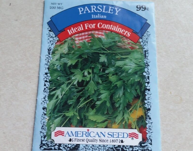 flat leaf parsley seeds packet