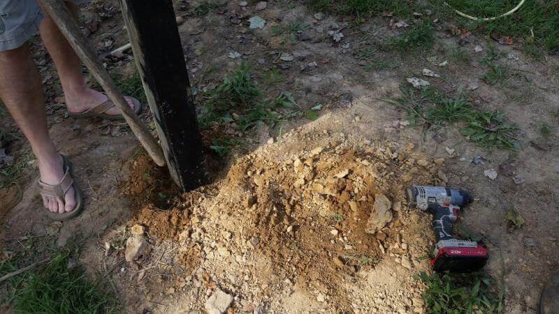 tamping the dirt