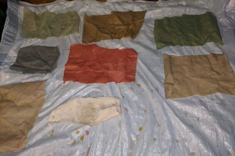fabrics naturally dyed in different colors