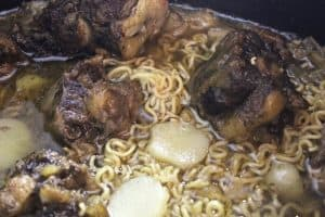 oxtail soup with noodles added