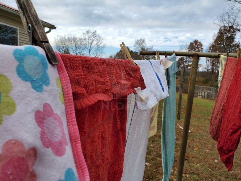 towels hanging on a clothesline
