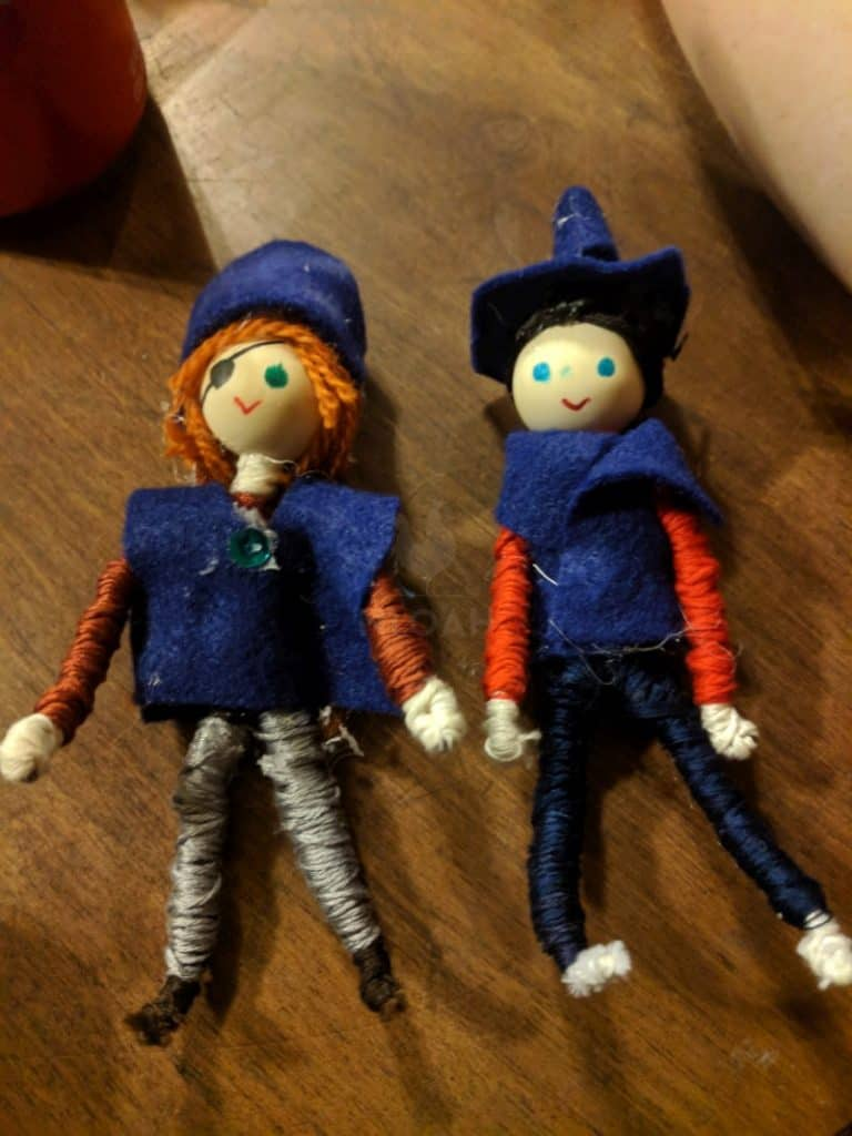 a couple of bendable dolls