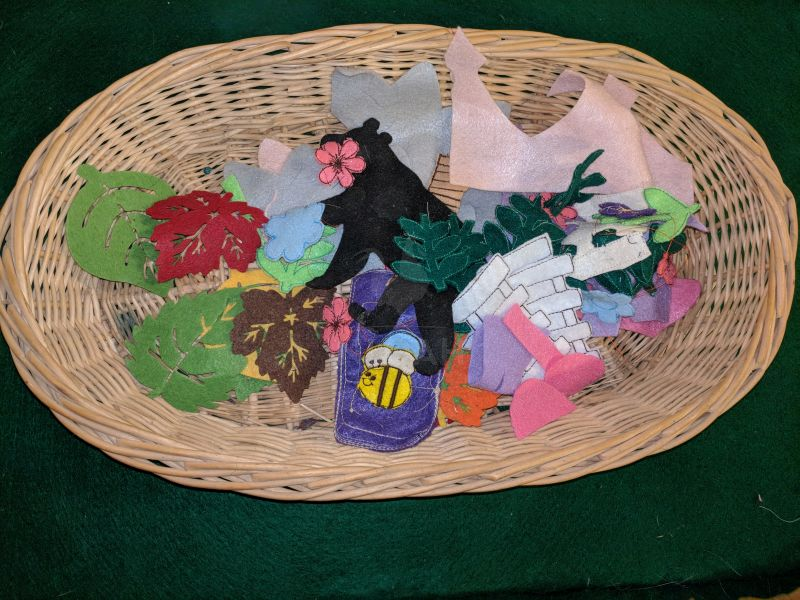 basket full of flannel board pieces