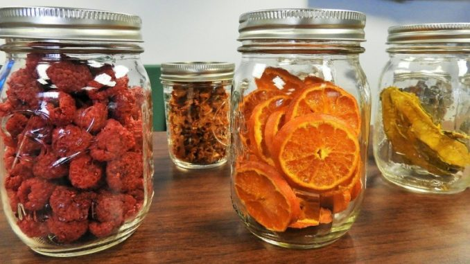 dried fruit in mason jars