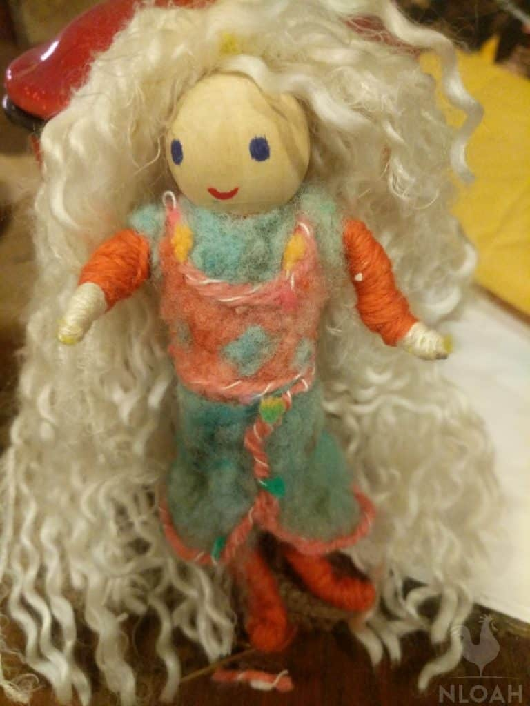 blonde needle felt doll