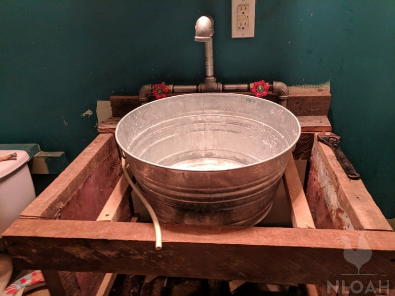 sink set into place