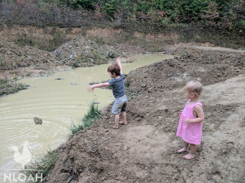 toddlers throwing rocks in the river