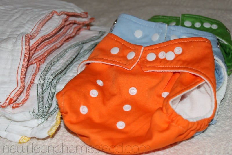 cloth diapers in various colors