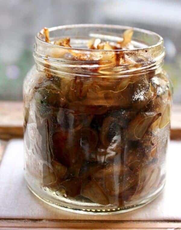 Jar of caramelized onions