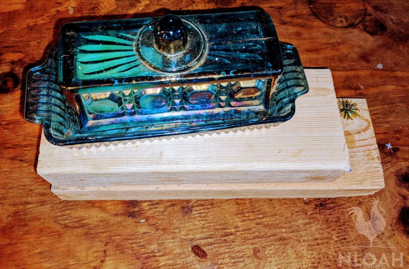 butter dish on wooden boards