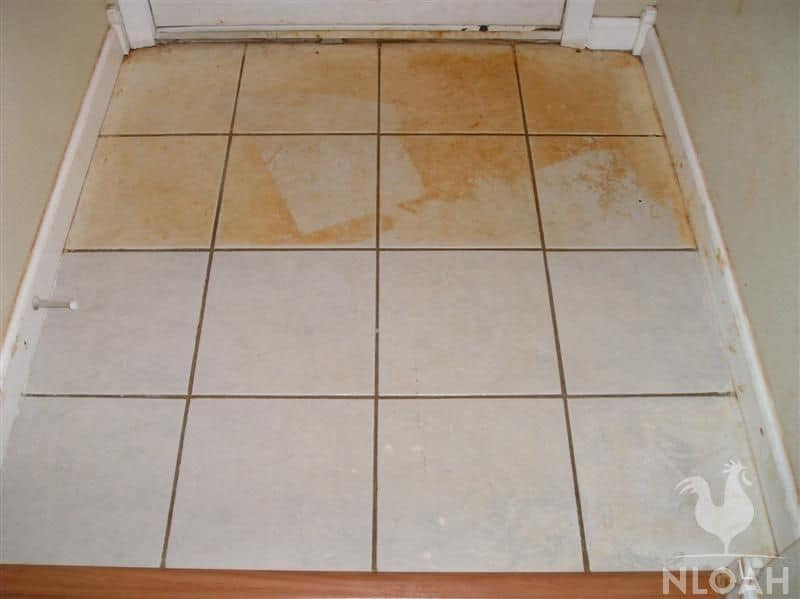 tile partially clean from mud