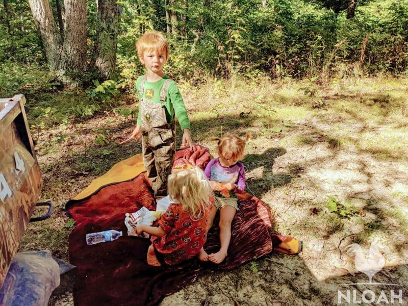 children on a blanket outdoors