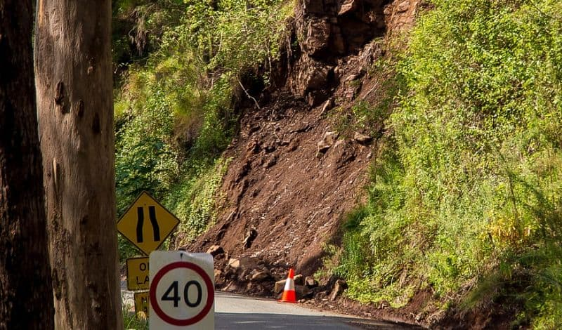 landslide caused by soil erosion