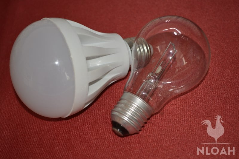 LED bulb on the left versus incandescent bulb on the right