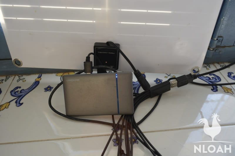 solar panel connected to battery bank