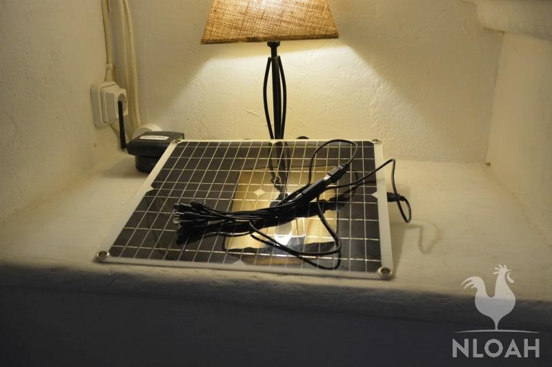 solar panel under LED lamp indoors